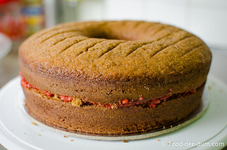 Brown Sugar Cake with White Chocolate Ganache and Strawberries-27