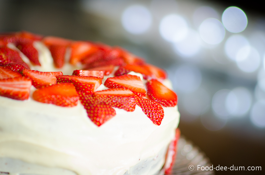 Brown Sugar Cake with White Chocolate Ganache and Strawberries-32