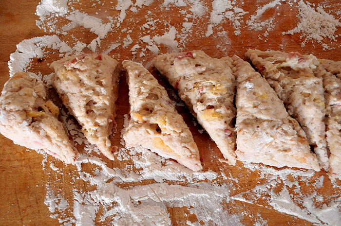 Dredge your knife in flour before cutting through sticky dough to get even, neat edges.